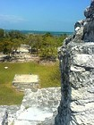 Aerial view from El Castillo of the archaeological site El Meco