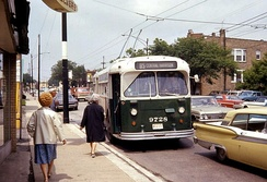 A trolley bus serving route 85-Central in 1968