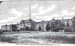 The Anna State Asylum, built in 1869 in the Kirkbride Plan was a rambling four-story structure, part of which was destroyed in separate incidents, but most of which is still standing as the central complex to the C.L. Choate Mental Health and Developmental Center.