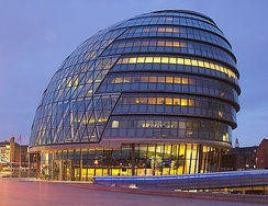 City Hall, London is the home of the Mayor of London and the Greater London Assembly.