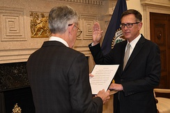 Clarida sworn in as Vice Chair of the Federal Reserve in 2018