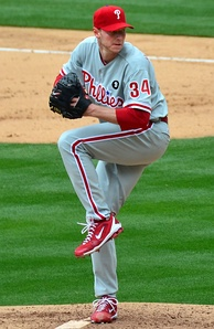 Halladay delivers a pitch in 2011
