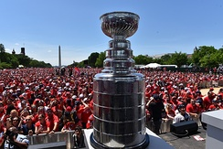 The Stanley Cup at the Capitals victory parade in Washington, D.C. following their victory in the 2018 Stanley Cup Finals.