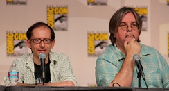 David X. Cohen and Matt Groening at the Futurama panel of Comic-Con 2009.