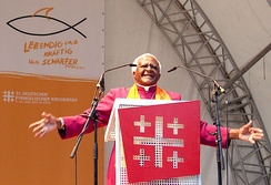 Archbishop of Cape Town Desmond Tutu, seen here speaking at the German Evangelical Church Assembly, is an influential theologian of the Anglican Church of Southern Africa