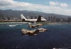 A 161st ARG KC-135A with two Hawaii ANG F-4Cs in 1979