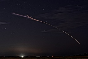 Long exposure of a night launch, 25 June 2019