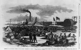 Receiving wounded at Fort Monroe as illustrated in Frank Leslie's paper, August 16, 1862