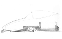 A side-view drawing of the GAU-8/A Avenger's mounting location in the A-10's forward fuselage