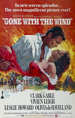 A poster for the 1939 epic film Gone with the Wind, set during the Civil War and Reconstruction era