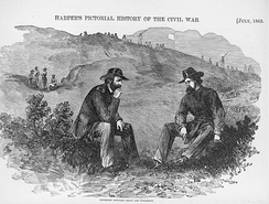 Grant discussing the terms of the capitulation of Vicksburg with defeated Confederate General Pemberton