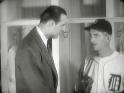 Baker meets with Hank Greenberg in 1941 before Greenberg departs for World War II.