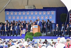 Baines giving a speech at his induction into the Baseball Hall of Fame in July 2019