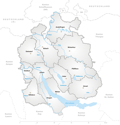 Districts in the canton of Zürich