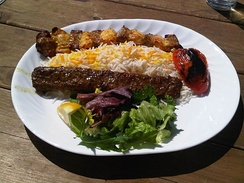 Chelow kabab (rice and kebab), one of Iran's national dishes[516][517][518]