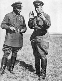 Khorloogiin Choibalsan, leader of the Mongolian People's Republic (left), and Georgy Zhukov consult during the Battle of Khalkhin Gol against Japanese troops, 1939