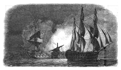 HMS Superb sails silently off the Spanish fleet at Gibraltar Bay, while the Hermenegildo and Real Carlos explode in the background after mistakenly firing on one other. Drawing by Antoine Léon Morel-Fatio.