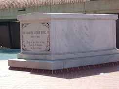 The tomb of Martin Luther King Jr. in Atlanta, Georgia is part of a National Historic Site and automatically listed on the National Register.
