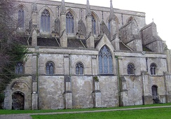 A view of Malmesbury Abbey in Wiltshire, completed in 1180; it remains in use as the parish church of Malmesbury