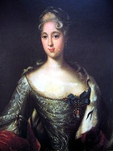 Menshikov's eldest daughter, Princess Maria who was engaged to the future Peter II of Russia but followed her father into exile. Portrait by Johann Gottfried Tannauer