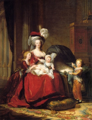This State Portrait of Marie Antoinette and her three surviving children, Marie Thérèse, Louis Charles (on her lap), and Louis Joseph holding up the drape of an empty bassinet signifying the recent death of Marie's fourth child, Sophie, was meant to improve her reputation by depicting her as a mother in simple, yet stately attire (by Vigée-Lebrun, 1787).