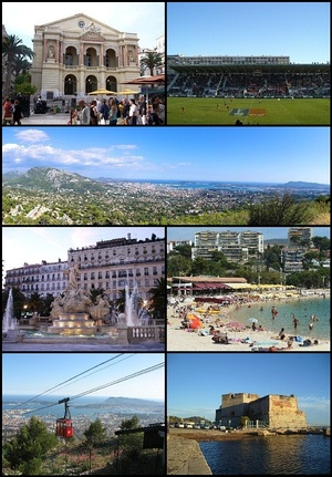 Top left: Toulon Opera House, Top right: Mayol Stadium (Le Stade du Mayol), 2nd: Panoramic view of downtown Toulon and its port, 3rd left: Place de la Liberté, 3rd right: The beaches of Mourillon, Bottom left: The cable car to Mount Faron, Bottom right: Fort Saint-Louis