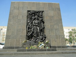 The Monument to the Ghetto Heroes, in Warsaw.