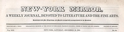 New-York Mirror, A Weekly Journal, Devoted to Literature and the Fine Arts, Vol. XIII, No. 24 (Saturday, December 12, 1835)