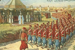 Selim III watching the parade of his new army, the Nizam-ı Cedid (New Order) troops, in 1793