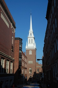 Old North Church in Boston. Inspired by the work of Christopher Wren, it was completed in 1723.