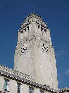 The Parkinson Building campanile, which features prominently in the university logo and publications after re-branding in 2006.