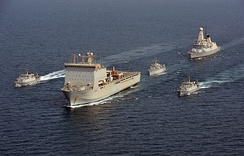 "The RN presence in the Persian Gulf typically consists of a Type 45 destroyer and a squadron of minehunters supported by an RFA Bay-class ""mothership"""