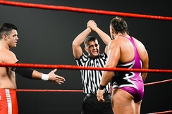 The Code of Honor allows wrestlers to establish themselves as heroic or villainous characters; the referee is shown trying to convince Michael Elgin to accept the hand of Eddie Edwards.