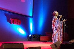 Traoré singing at TED in 2007.