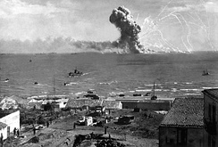 The U.S. Liberty ship SS Robert Rowan explodes during the Allied invasion of Sicily, July 11, 1943.