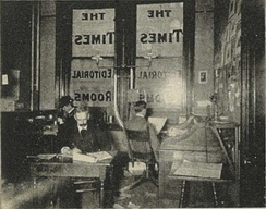 """Quarters of the news editor"", one in a group of four photos in the brochure Seattle and the Orient (1900), collectively captioned ""The Seattle Daily Times—Editorial Department"""