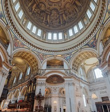 The interior of the dome showing how Thornhill's painting continues an illusion of the real architectural features
