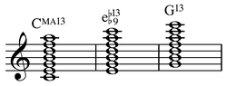 CM13, first inversion =[disputed  – discuss] Em13♭9, 2nd inversion = G13... (Play (help·info)). Eventually seven chords along a ladder of thirds.