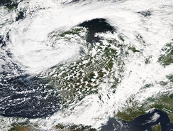 Cyclone Uriah crossing the United Kingdom on 25 June. Associated heavy rainfall led to flooding across northern England, particularly in Sheffield.