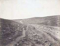 Valley of the Shadow of Death, by Roger Fenton, one of the most famous pictures of the Crimean War[37]