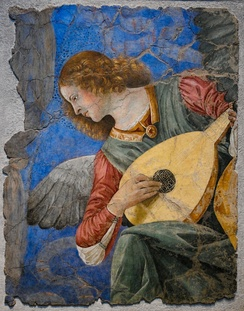 Fresco of angel playing a lute by Melozzo da Forlì.