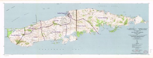 Topographic Map of Vieques, 1951with wards (barrios)