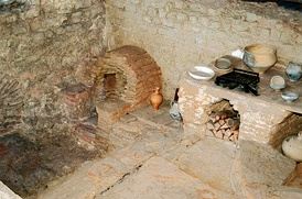 Kitchen with stove and oven of a Roman inn (Mansio) at the Roman villa of Bad Neuenahr-Ahrweiler (Germany)