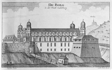Maribor Castle. A copper engraving by Georg Matthäus Vischer.