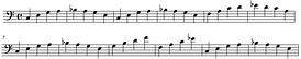 """Walking basslines"", so-named because they rise and fall in a regular pattern, are a widely used style of accompaniment bassline in jazz, blues and rockabilly."