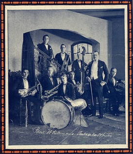 Paul Whiteman and his orchestra in 1921. Whiteman's principal arranger, Ferde Grofé, is seated at the piano to the right. Photo is from sheet music cover in the collection of Fredrik Tersmeden (Lund, Sweden).