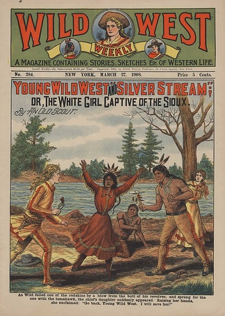 """As Wild felled one of the redskins by a blow from the butt of his revolver, and sprang for the one with the tomahawk, the chief's daughter suddenly appeared. Raising her hands, she exclaimed, 'Go back, Young Wild West. I will save her!'"" (1908)"