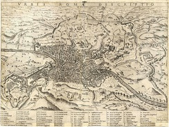 Almost 500 years old, this map of Rome by Mario Cartaro shows the city's primary monuments.