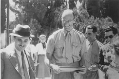 James Roosevelt visiting Degania, Palestine, 1941