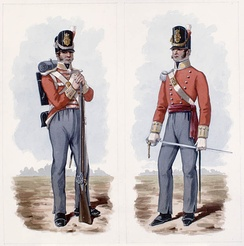Depiction of a British private (left) and officer (right) of the period